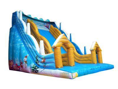 winter skiing theme inflatable slide for winter holiday rental