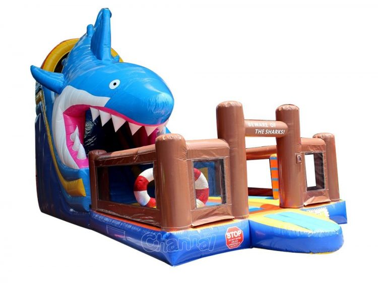 white shark attack theme inflatable slide with obstacles for kids