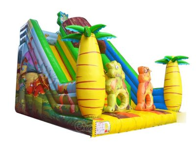 cartoon dinosaur inflatable slide for kids