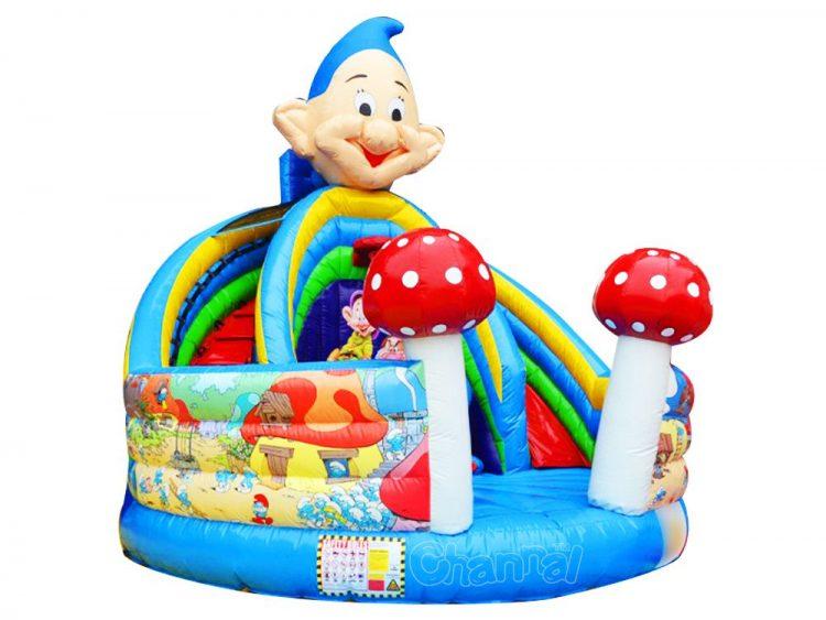 the smurfs mushroom house inflatable slide