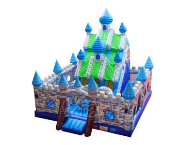 king's castle inflatable playground with obstacles and slides