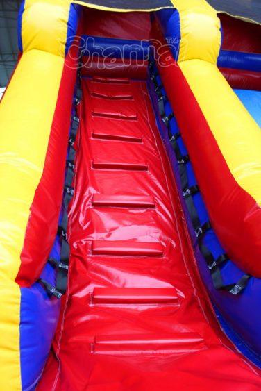 climbing steps of 20 foot dry slide