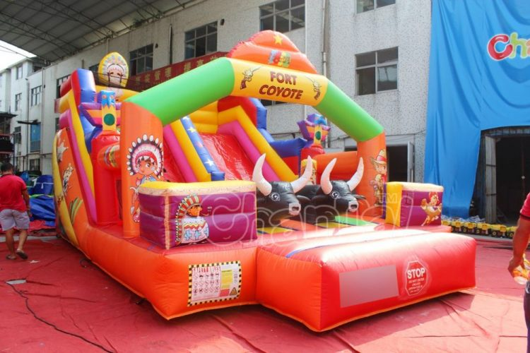 fort coyote cowboy inflatable slide