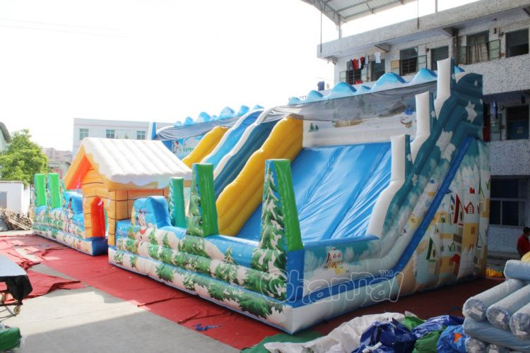 winter theme inflatable slide (2 slides)