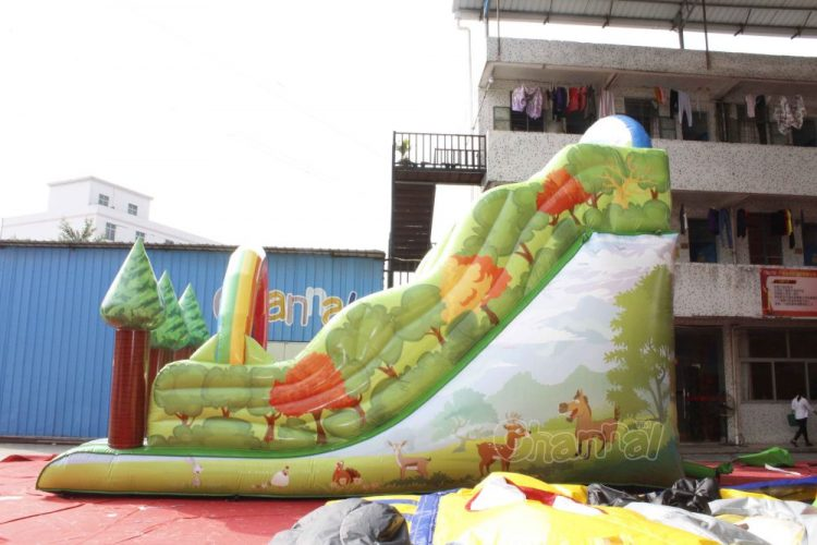 woods inflatable slide with forest animals printing