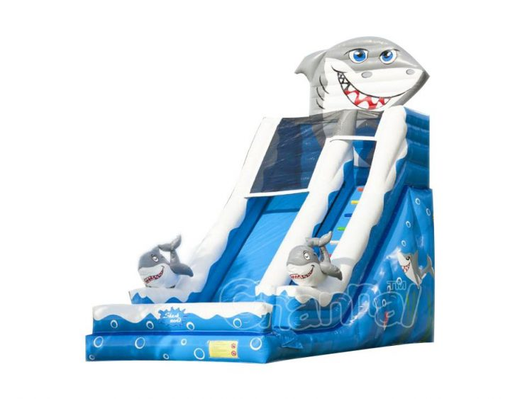 great white shark inflatable water slide for sale