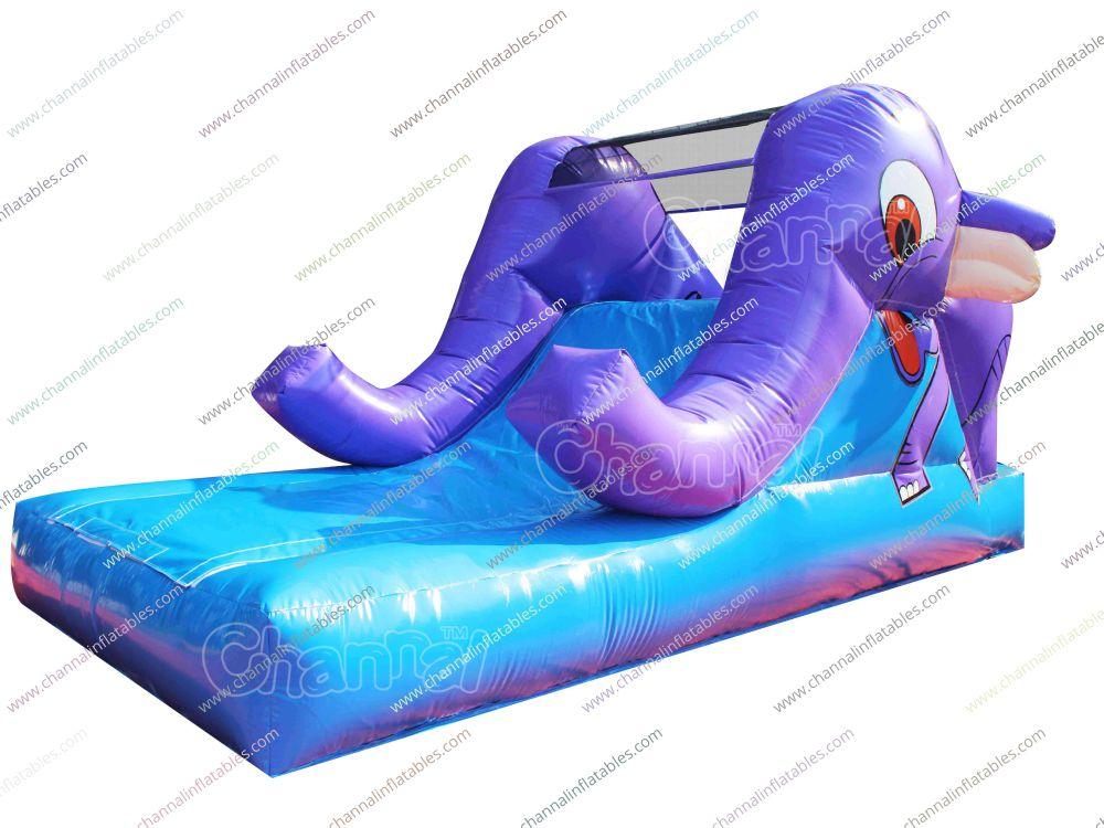 purple elephant inflatable slide