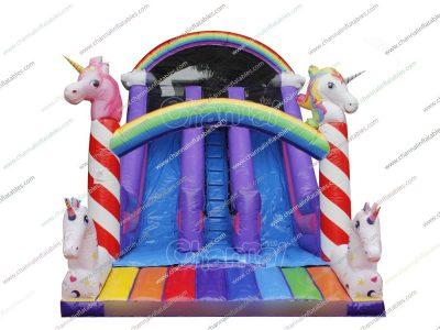 rainbow unicorn inflatable slide