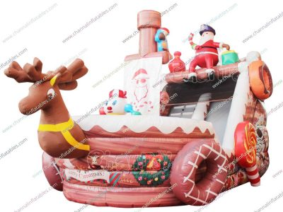 santa pirate ship inflatable slide