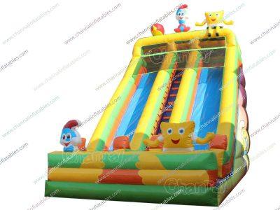 yellow smurfs theme inflatable slide