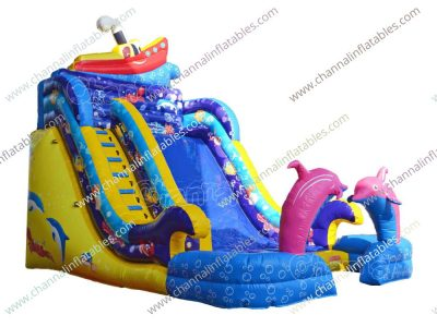 ocean dolphin inflatable slide