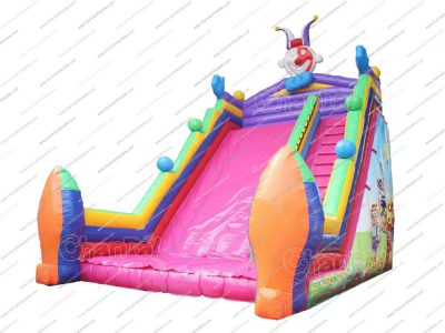 circus clowns juggling inflatable slide