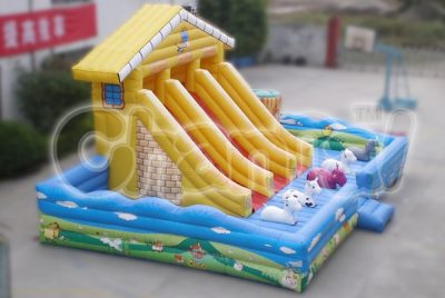 farm animals inflatable slide for kids