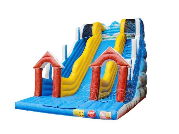 skiing inflatable slide