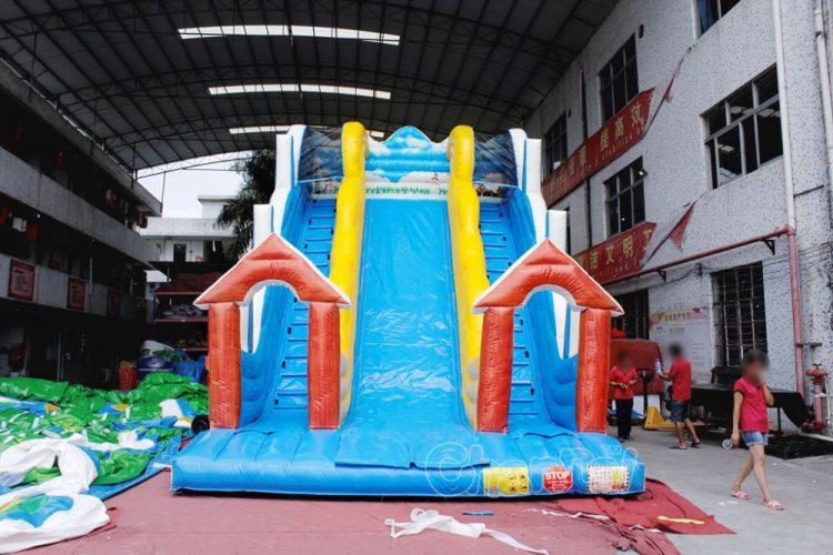 winter themed inflatable slide