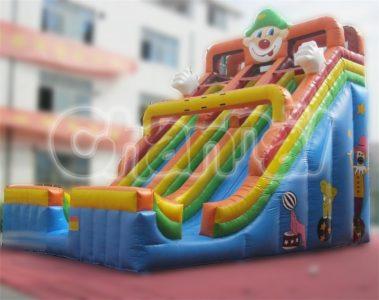 clown double lane inflatable slide