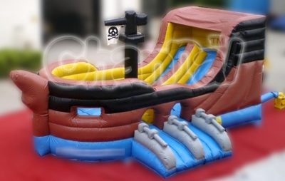 brown pirate ship inflatable slide