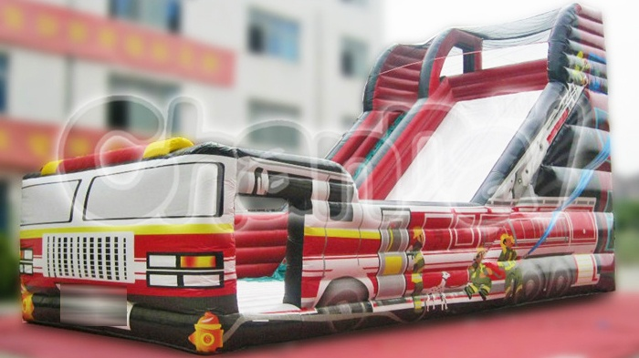 large fire truck inflatable slide for sale