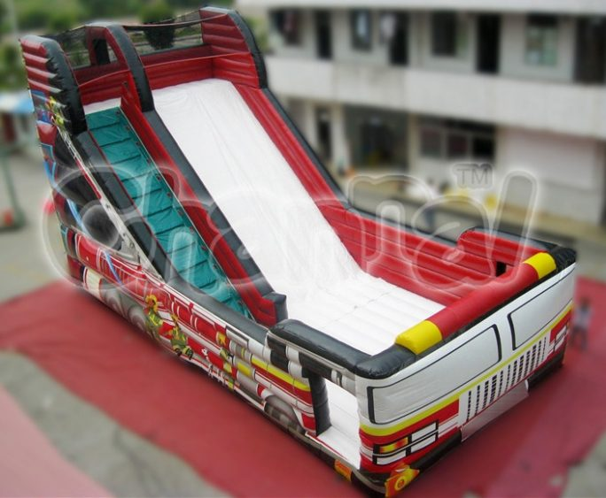 fire truck inflatable slide for kids