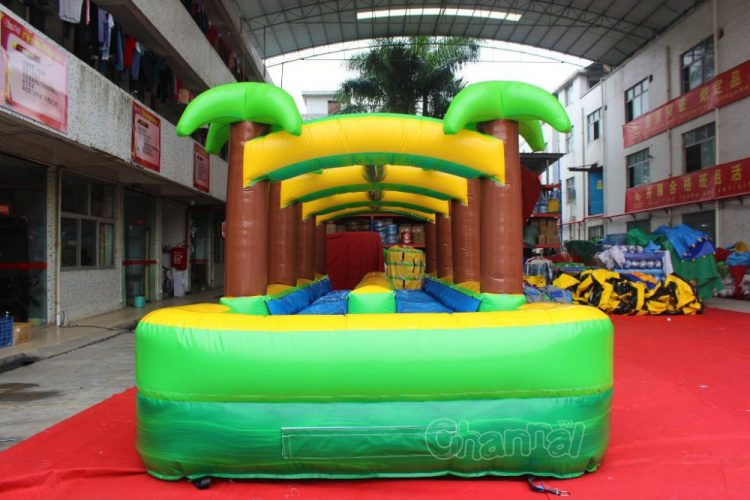 dual lane inflatable slip and slide with pool
