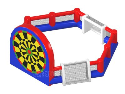 inflatable three sided football field with giant football dart