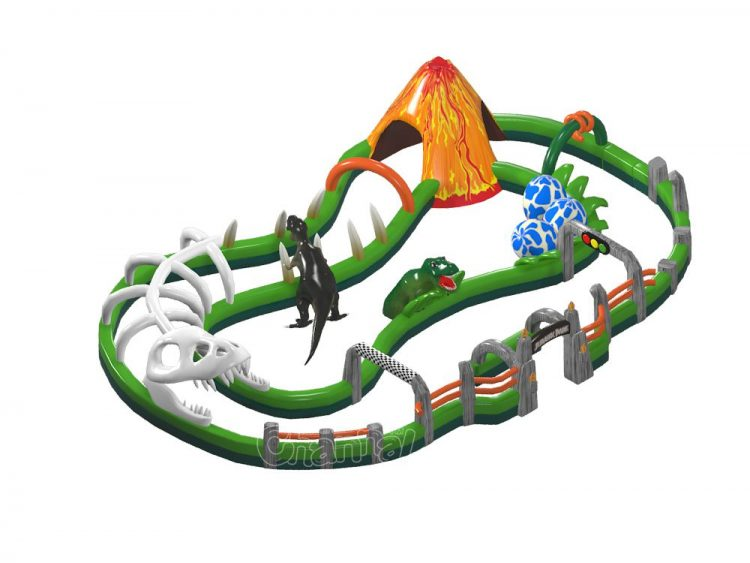 dinosaur go carts inflatable track