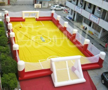 inflatable soccer ball field with netting wall