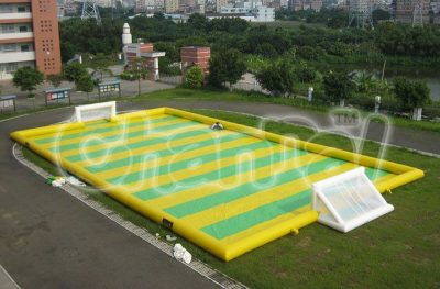 giant inflatable soap football pitch