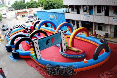 large inflatable speedway go kart race track
