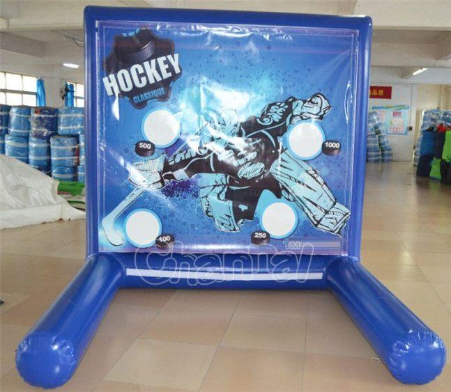 inflatable hockey goalie game