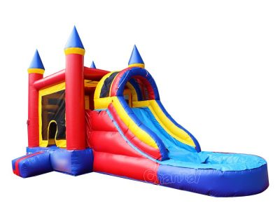 inflatable bouncy house waterslide with pool