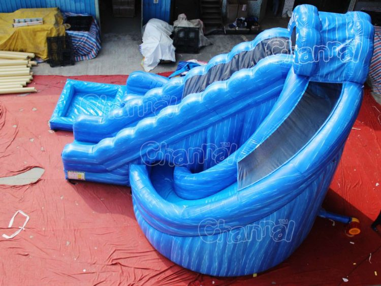 top view of corkscrew water slide inflatable