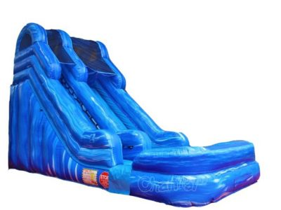 18' blue marble inflatable wet n dry slide