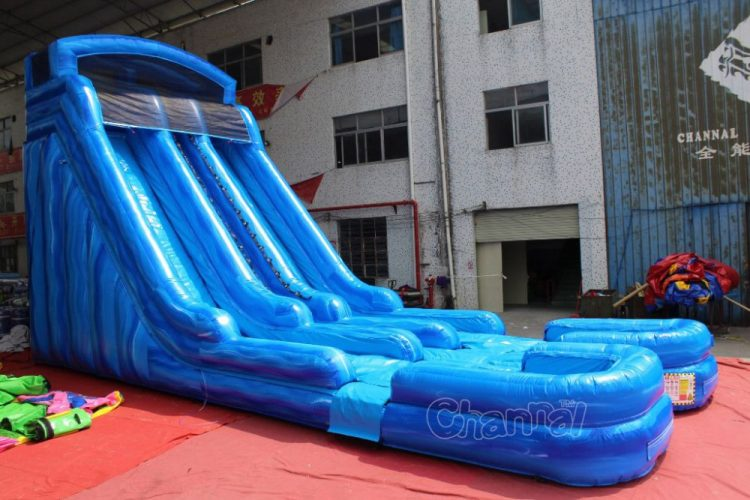 dual lane water slide with pools