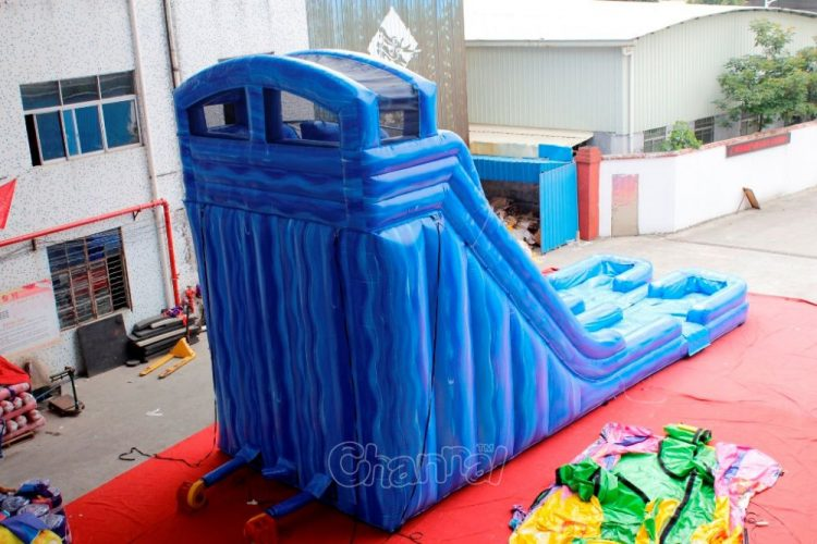 dual water slide inflatable back side