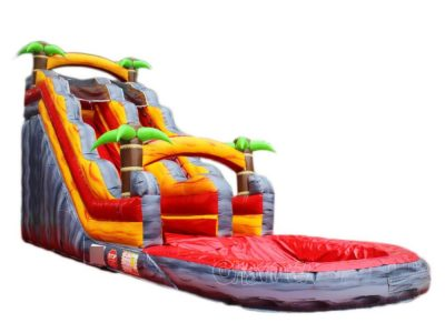 inflatable water slide and a big pool