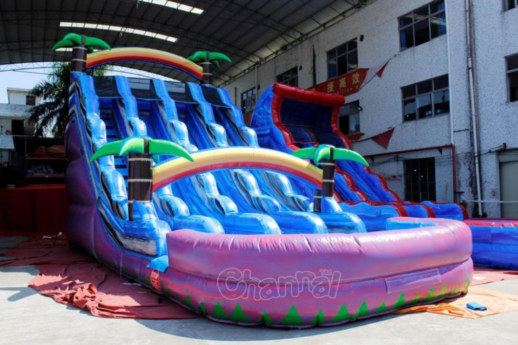 cheap 3 lane inflatable water slide