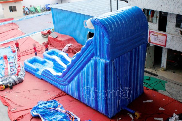 backside view of double inflatable water slide