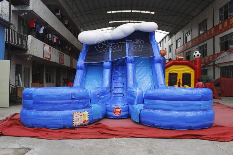 double lane inflatable water slide with pools