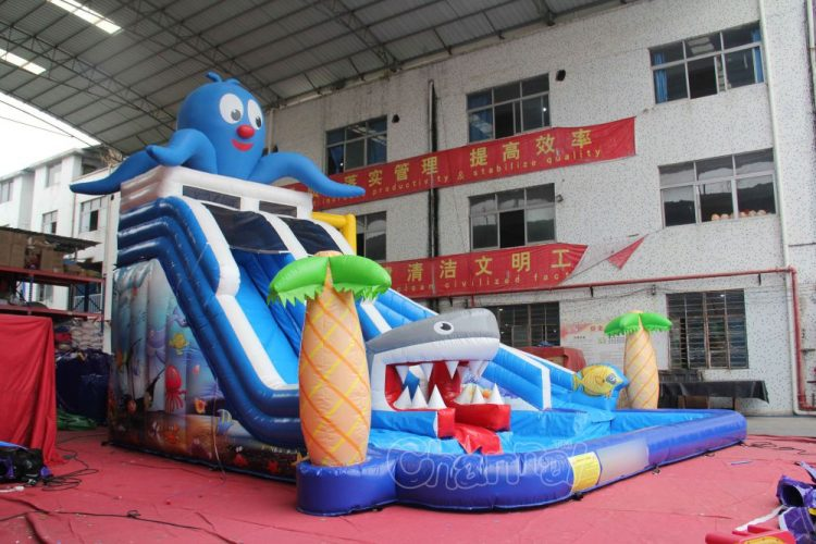 backyard inflatable water park with pool and slide