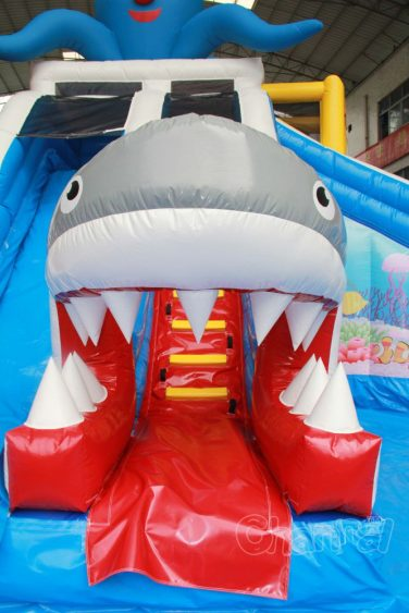 inflatable shark mouth slide exit