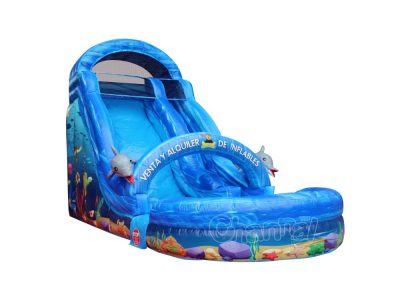 cheap ocean theme inflatable water slide