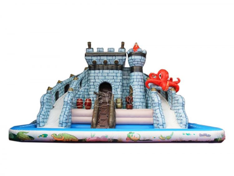 castle water slide and pool