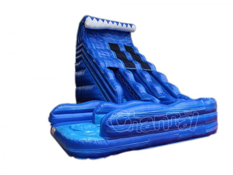 double curved water slide lane inflatable slide