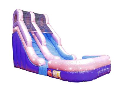 pink inflatable water slide