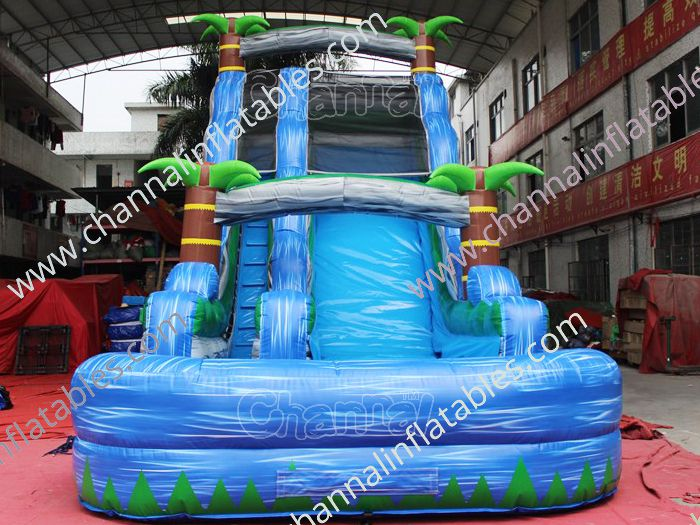 front view of tropical water slide