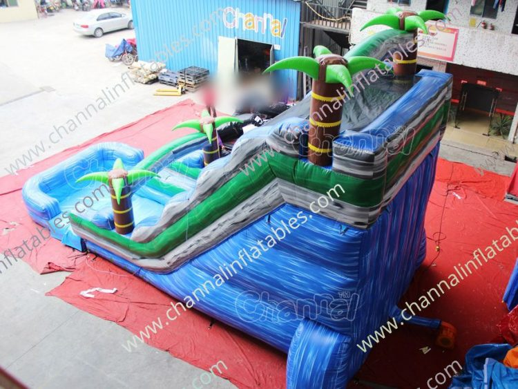 back view of tropical water slide