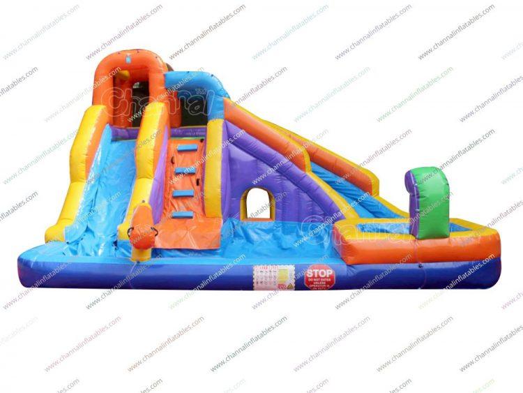 backyard water pool and slide