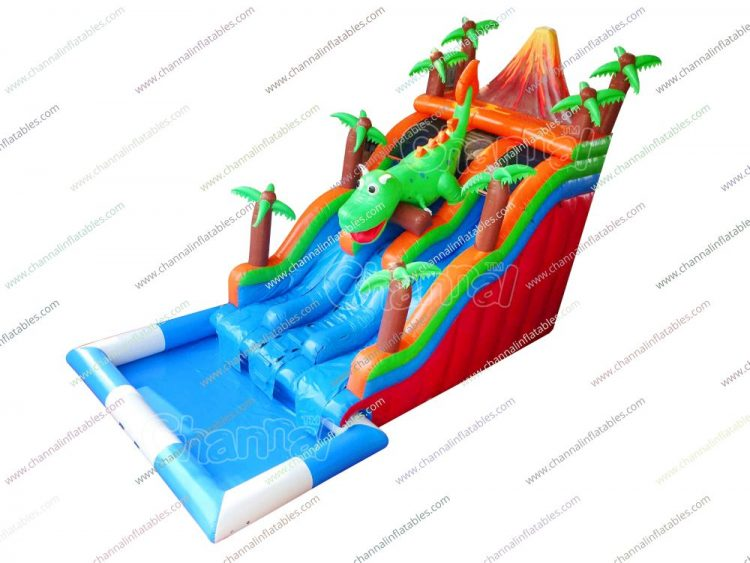 volcano dino inflatable water slide