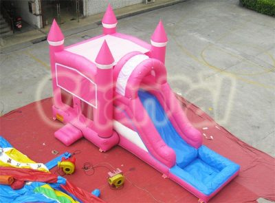 pink castle inflatable water combo